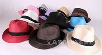 Wholesale Fashion Women Men Unisex Fedora Trilby Gangster Cap Summer Beach Sun Straw Panama Hat Couples Lovers Hat