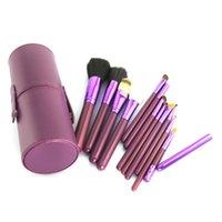 Precio de Almacenamiento de maquillaje de madera-Paquete de herramientas Belleza Maquillaje Pinceles 12 PCS púrpura Maquillaje Pincel Cosméticos Set Sombra de madera Blush Pincel Herramientas con estuche de almacenamiento