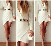 Cheap Euramerican Large Size Autumn Long Sleeve Sexy Miniskirt White Casual Dresses