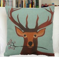"""Cheap Wholesale-18*18"""" high quality Cute Sika Deer printed invisible zipper cushion cover pillow case for sofa Bedding Couch Car"""