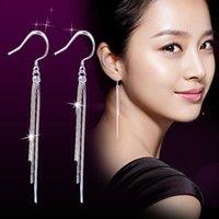 Cheap Ladies 925 Sterling Silver Tassel long Ear Chain Link Drop Dangle Hook Earrings
