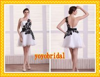 Wholesale Fashion Black Lace And White Wedding Dresses One shoulder Short Organza A line Ribbon with Beads New Cheap Wedding Bridal Gowns