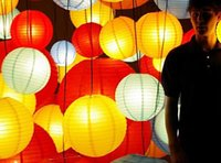"""Wedding   2014 New 12""""(30cm) Chinese Paper Lanterns With LED Lights Multi Color Christmas Ornaments Lantern For Wedding Party Decoration Supplies"""
