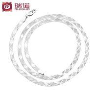 american diamond blades - Guerrino S925 silver diamond necklace male flat blade necklace collarbone Korean version of handmade fashion jewelry