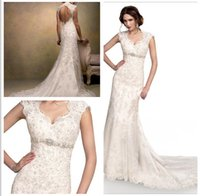 bernadette wedding dress - 2016 New slim A line Lace gown with scalloped edging And keyhole back Beading Waist Belt Bernadette Wedding Dresses