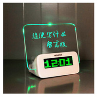 Wholesale Christmas Gift Fluorescent Message Board Clock Alarm Temperature Calendar Timer LED Digital Desktop Director Table Clocks with retail box