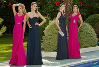 Wholesale 2015 Hot Design Navy Blue Chiffon Bridesmaid Dresses With Sweetheart Neckline Sleeveless Ruched Backless Prom Dress Long Evening Gowns