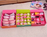 plastic storage container - lattice Plastic Square Underwear Socks Bras Storage Box Container Collecting with Cover Piece