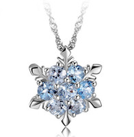 Wholesale 925 sterling silver necklace hexagon Snowflake pendant collarbone chain silver blue jewelry elsa snowflake necklace in stock