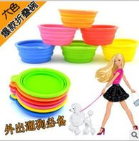 Wholesale Pet Products silicone Bowl pet folding portable dog bowls for food the dog drinking water bowl pet bowls L004