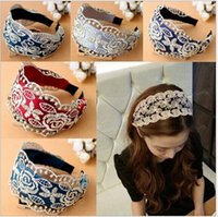 adult lace headbands - Embroidery Lace Wide Hair Sticks mix colors Korean boutique adult Hair Accessories girls womens BA139