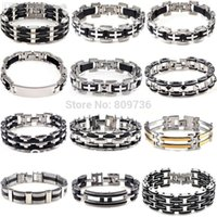 Wholesale Fashion Men s Silver Stainless Steel Black Rubber Bracelet Bangle Wristband quot Charm Bracelets Drop Free