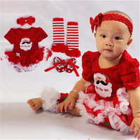 asymmetrical shoes - 2016 cute Christmas dress sets set newborn baby dress santa claus Romper Shoes Headband Legging New Year dress