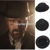Wholesale Fashion Men Classic Felt Pork Pie Porkpie fedora Hat Chapea Cap Upturn Masculino Black Ribbon Band panama hats Freeshipping