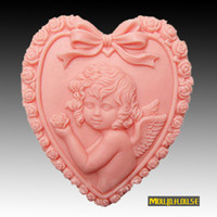 Wholesale new heart shaped angel girl Handmade soap silicone mold silica gel mould silicon candle moulds for soap