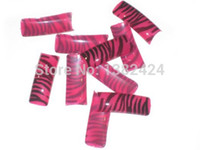 airbrushed nail tips - Half Cover French Rose Red and Black Zebra Predesigned Airbrushed Nail Art False Tips Plus Bonus