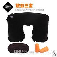 air cushion mask - 500sets CCA2099 Hot Sale New Candy Travel Flight Inflatable Pillow Neck U Shape Rest Air Cushion Eye Mask Ear Plug Portable Supply
