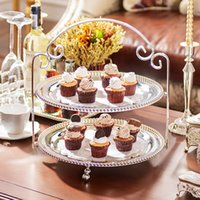 Wholesale High end home decorations tableware Anna zinc alloy series beading multilayer tea pastry tray