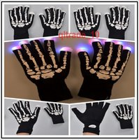 Wholesale 200 BBA5322 hotsale LED gloves Halloween christmas Skull gloves Concert noctilucent gloves Flash cycling gloves Skeleton glow gloves
