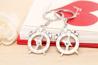 Cheap Wedding favor Personality creative cute South Korean mini alarm clock Keychain car   bag alloy 20sets lot key ring party favors 052929