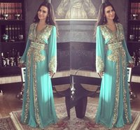 beaded kaftans - 2015 Green Dubai Evening Dresses A Line V Neck Long Sleeves Gold Sequins and Beading Luxurious Dresses Party Evening Formal Long Kaftans