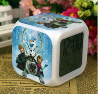 Wholesale 10pcs Arrival Customization Cartoon Elsa Anna Froze Clocks Cartoon Change Colorful Children Girls Boys High Quality LED Alarm Clock K2295