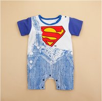 Cheap 2016 New Fashion Summer Newborn Boy Romper Baby Infant Clothing Superman Batman Cotton Romper Boys Clothes