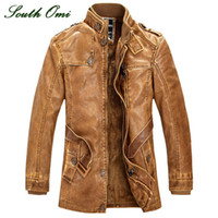 Wholesale Leather Jackets Men Coats Winter Warm Motorcycle Leather Jacket Men s Fashion Luxury Leather Mens Fur Coat Distressed PU Jacket