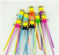 Wholesale 500 BBA4079 baby minion learning chopsticks cartoon minions chopsticks Educational despicable me silicone tableware christmas halloween gift