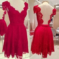 Wholesale 2015 Sexy Red Short Casual Dresses Backless Cheap Lace V Neck A Line In Stock Prom Party Dress Gowns for Runaway