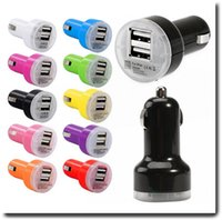 Wholesale Universal Dual USB Car Charger For iPhone s s plus Colorful A A Power Charger Adapter For Samsung Galaxy S3 S4 S5 S6 S6 edge Htc LG