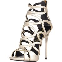 Cheap Fashion Pumps Gold Sandals High Heels Cowhide After Zipper Cut-Out Sexy Euramerican Style Peep Toe Hollow Out Summer Shoes Cheap Shoes.
