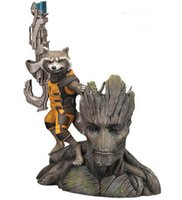 Cheap 14CM Guardians of the Galaxy Groot & Rocket Raccoon Boxed PVC Action Figure Collectible Model Toy