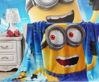 Wholesale minion blanket kids despicable me minion blanket cartoon coral fabrics for baby blankets fleece blanket warm large blanket D1342