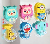 Wholesale Toothbrush Holders Creative household toiletries Cute cartoon suction cup toothbrush rack Wooden toothbrush rack