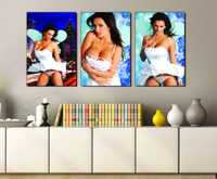 beautiful calligraphy - 3 Pieces Art Picture Paint on Canvas Prints Holland windmill Double deck bus Old car Sexy models angel wing beautiful woman