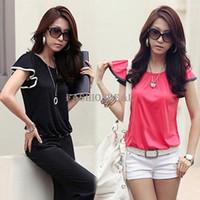 Cheap 2014 New Fashion Plus Size Women Clothing T-shirt Korean Style Punk Loose Tee Clothes T-shirt Lotus Leaf Short Sleeve 14029 b010