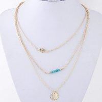 Wholesale Fashion wishbone multi metal chain pendant necklace pendant three personality statement choker necklaces jewelry retail fashion