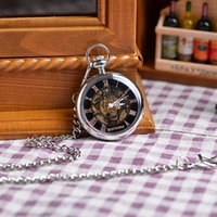 antique watches for sale - 2016 Shining New Steampunk Face Retro Pendant Pocket Watch For Gift Skeleton Mechanical Silver Watch Hot Sales