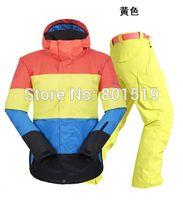 Wholesale mens color matching ski suit snowboarding suit sports skiwear windproof waterproof winter warm ski suit