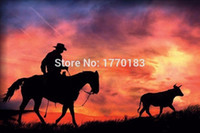 america artist - Professional Skilled Artist Handmade west america Paintings On Canvas Abstract Cowboy Oil Painting of fire sky sunset