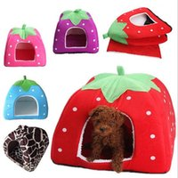 Beds basket with lid - Soft Strawberry Pet Dog House Cat Rabbit Bed House Kennel Doggy Warm Cushion Basket Color S L Colors Leopard