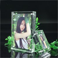 Wholesale units pack Inch Clear Plexiglass Photo Frame holder With Magnetic As Fashion Gifts Or Promotional Product PF003