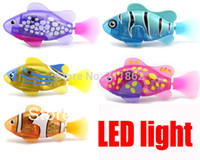 battery operated fish - pieces New Novel Robofish Electric Toy Robo Fish with led Emulational Toy Robot Fish