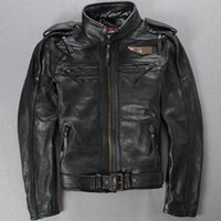leather motorcycle apparel - 97146 Men Motorcycle Genuine Leather Jacket Apparel Embroidery Letter With Belts Anniversary Fashion Design Real Leather Motor Coats