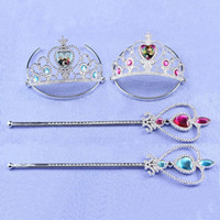 plastic headbands - 2015 Hot Frozen Plastic Diamond Crown and Magic Wand Set Kids Toy for Holiday Gifts Set