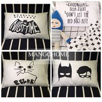 baby boy case - Rectangle Black and white baby Pillow Case Cotton Cover Cute Pillowcase Bed for girls and boys Batman and Cat Pattern