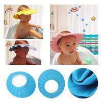 Wholesale New Portable Adjustable Soft Shower Cap Safe Hat Wash Hair Children Shampoo Bath Bathing