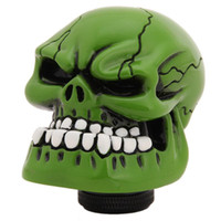 Wholesale Universal Manual Gear stick Shift Shifter Lever Knob Wicked Carved Green Skull Car interior Accessories HO875541