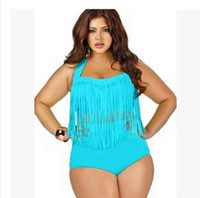 Cheap 3XL 2015 New Plus size Female Swimsuit Sling Cover Belly Tassel Tops High Waist Swim Trunks for Obese Women 7 Colors Bikini Set Bathing suit